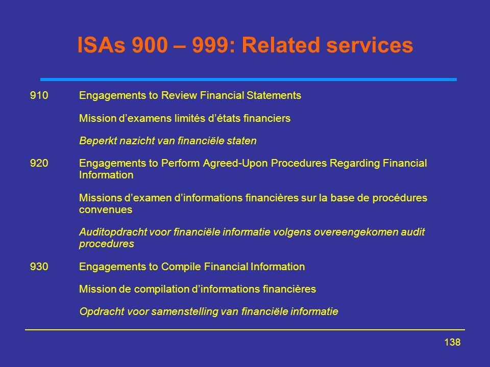 ISAs 900 – 999: Related services