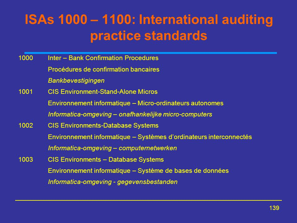 ISAs 1000 – 1100: International auditing practice standards