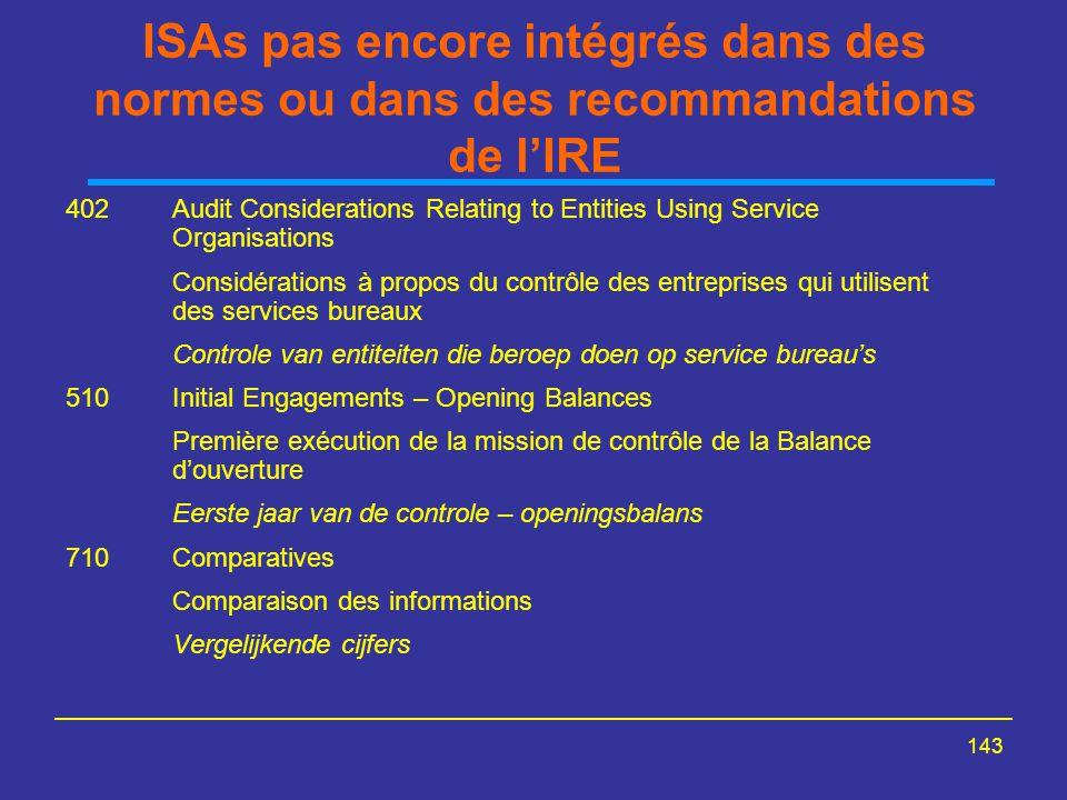 ISAs pas encore intégrés dans des normes ou dans des recommandations de l'IRE