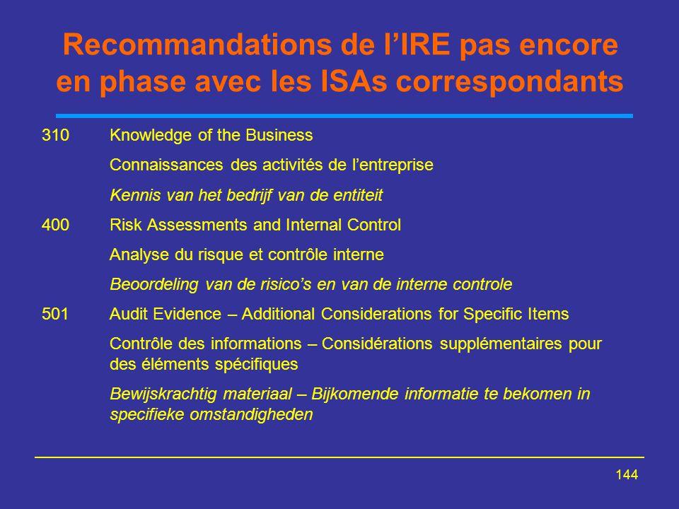 Recommandations de l'IRE pas encore en phase avec les ISAs correspondants