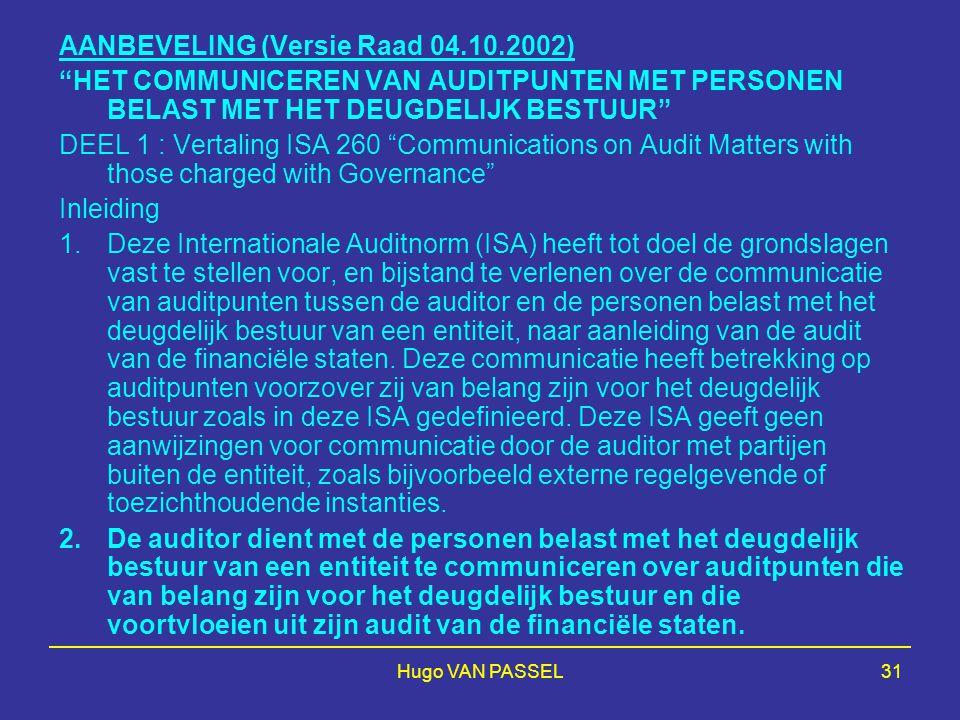 AANBEVELING (Versie Raad 04.10.2002)