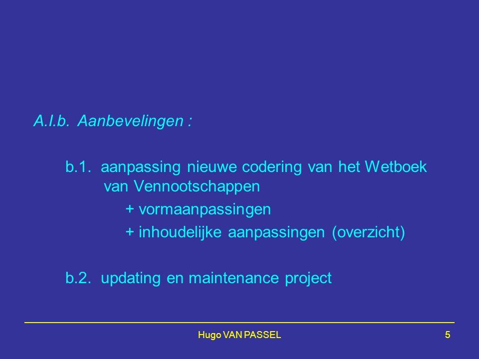 b.1. aanpassing nieuwe codering van het Wetboek van Vennootschappen