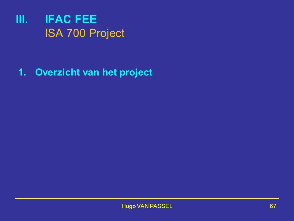 IFAC FEE ISA 700 Project Overzicht van het project Hugo VAN PASSEL