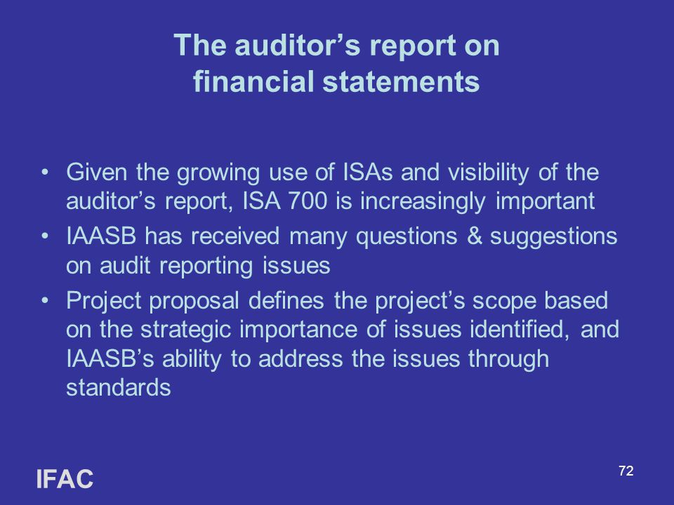 The auditor's report on financial statements