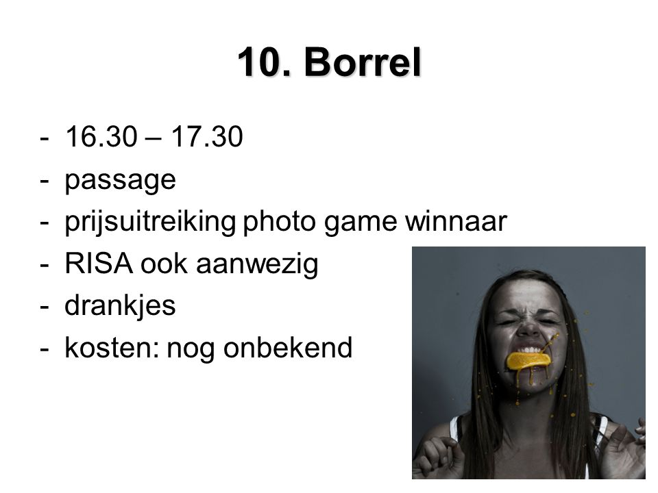 10. Borrel – passage prijsuitreiking photo game winnaar