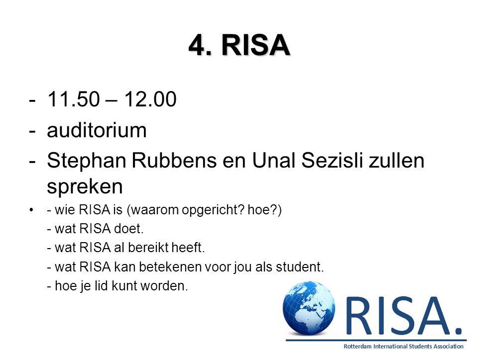 4. RISA 11.50 – 12.00. auditorium. Stephan Rubbens en Unal Sezisli zullen spreken. - wie RISA is (waarom opgericht hoe )
