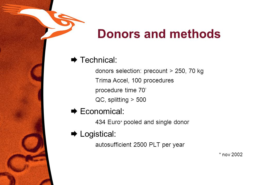 Donors and methods  Technical:  Economical:  Logistical: