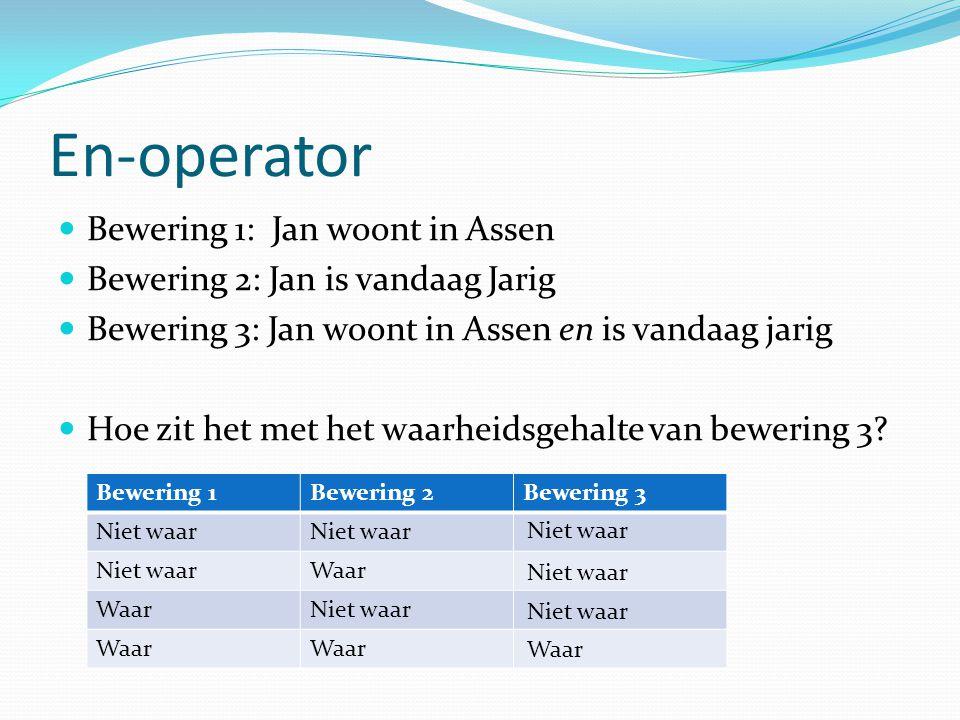 En-operator Bewering 1: Jan woont in Assen