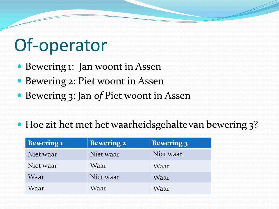 Of-operator Bewering 1: Jan woont in Assen