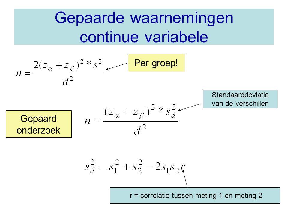 Gepaarde waarnemingen continue variabele