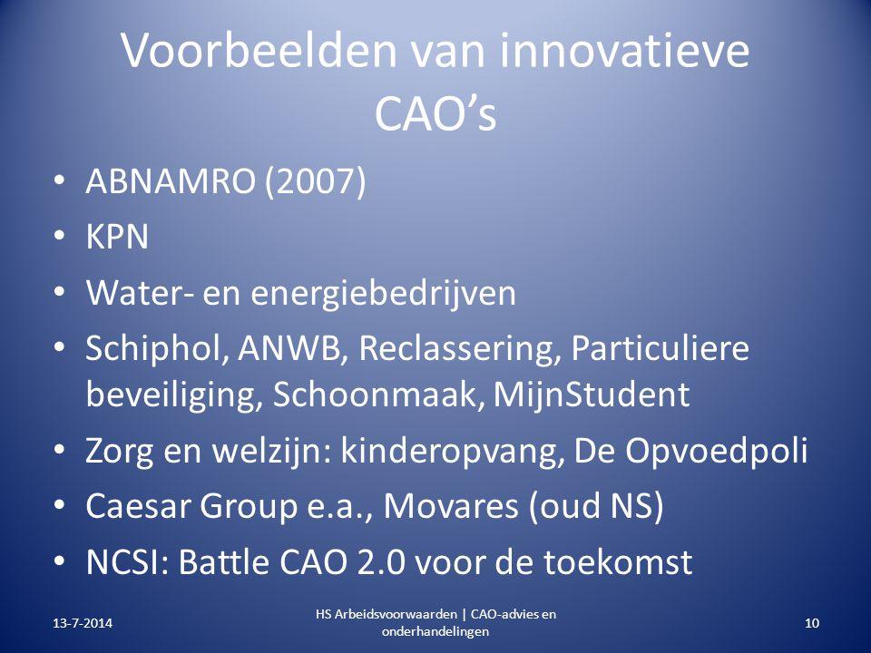 Voorbeelden van innovatieve CAO's