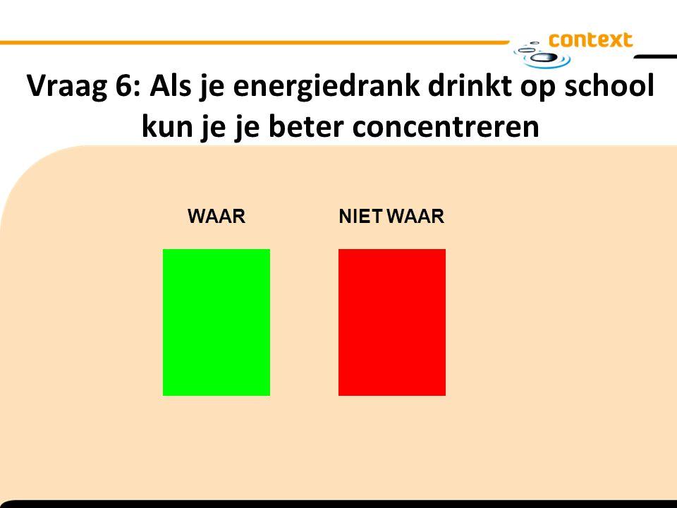 Vraag 6: Als je energiedrank drinkt op school kun je je beter concentreren