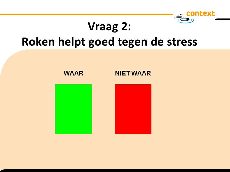 Vraag 2: Roken helpt goed tegen de stress