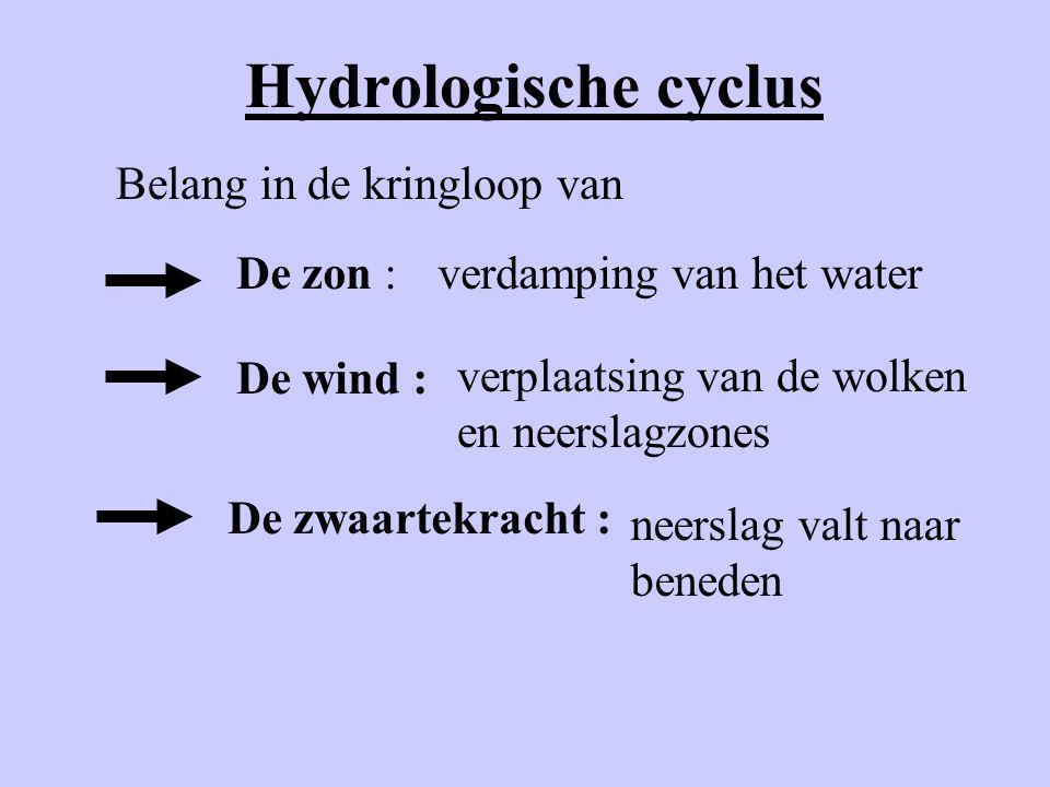 Hydrologische cyclus Belang in de kringloop van De zon :