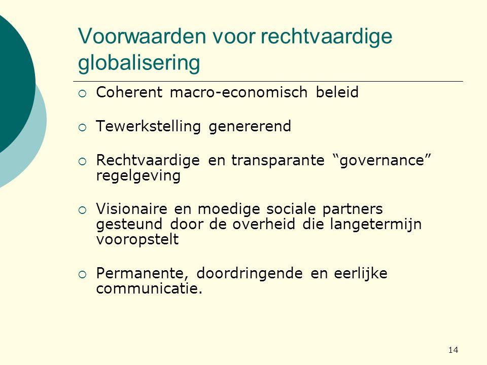 Voorwaarden voor rechtvaardige globalisering