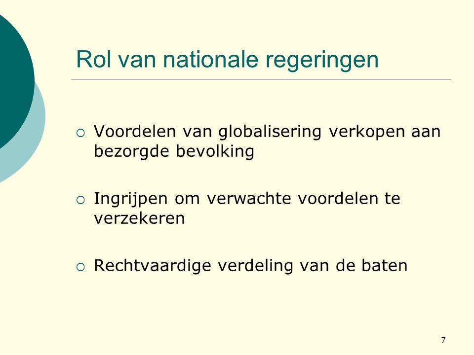 Rol van nationale regeringen