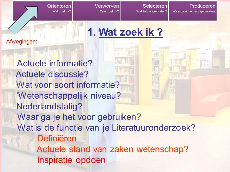 Wat zoek ik 1. Wat zoek ik Afwegingen: Actuele informatie Actuele discussie Wat voor soort informatie