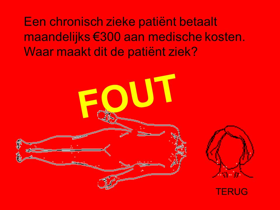 Een chronisch zieke patiënt betaalt maandelijks €300 aan medische kosten. Waar maakt dit de patiënt ziek