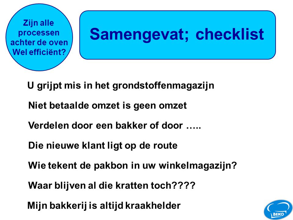 Samengevat; checklist