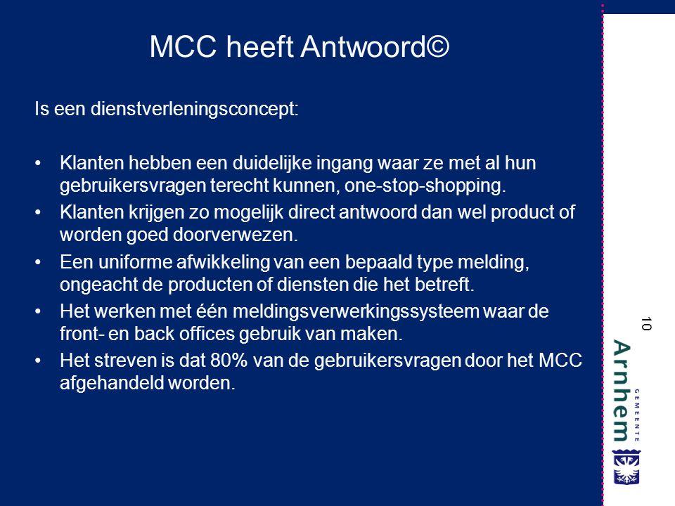 MCC heeft Antwoord© Is een dienstverleningsconcept: