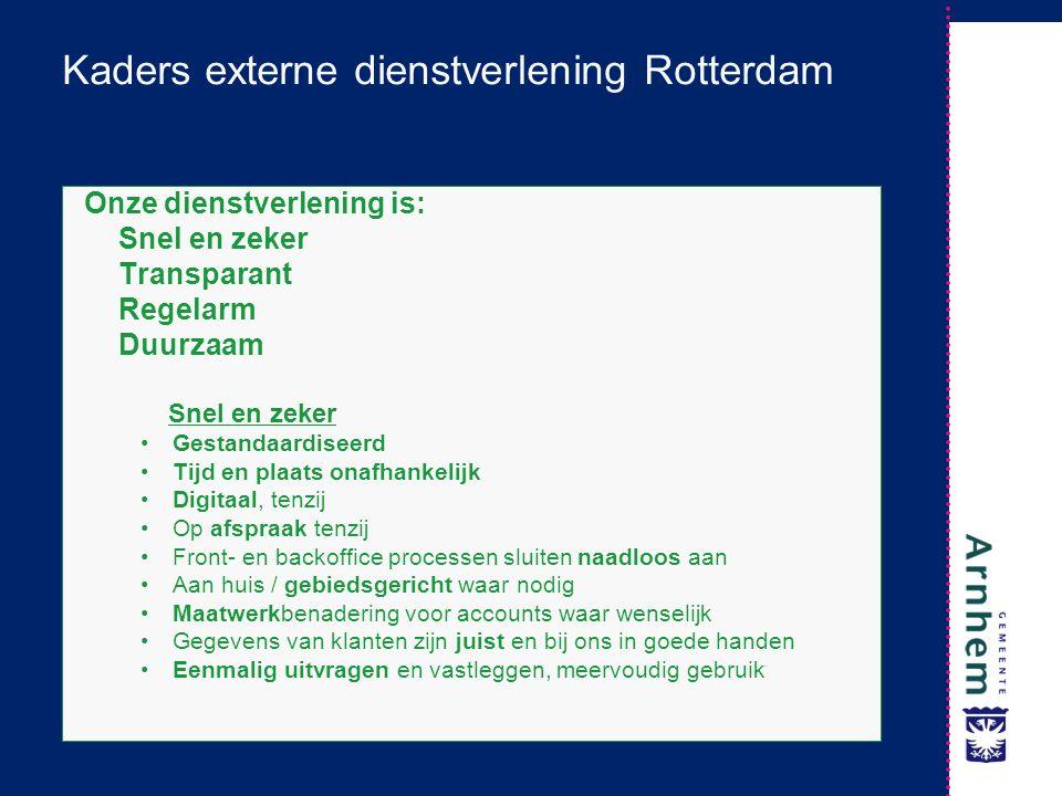 Kaders externe dienstverlening Rotterdam