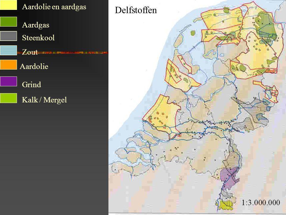 Delfstoffen Aardolie en aardgas Aardgas Steenkool Zout Aardolie Grind