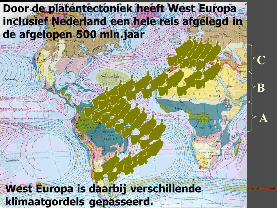Door de platentectoniek heeft West Europa inclusief Nederland een hele reis afgelegd in de afgelopen 500 mln.jaar