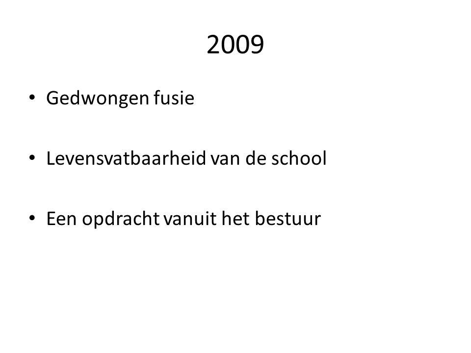 2009 Gedwongen fusie Levensvatbaarheid van de school