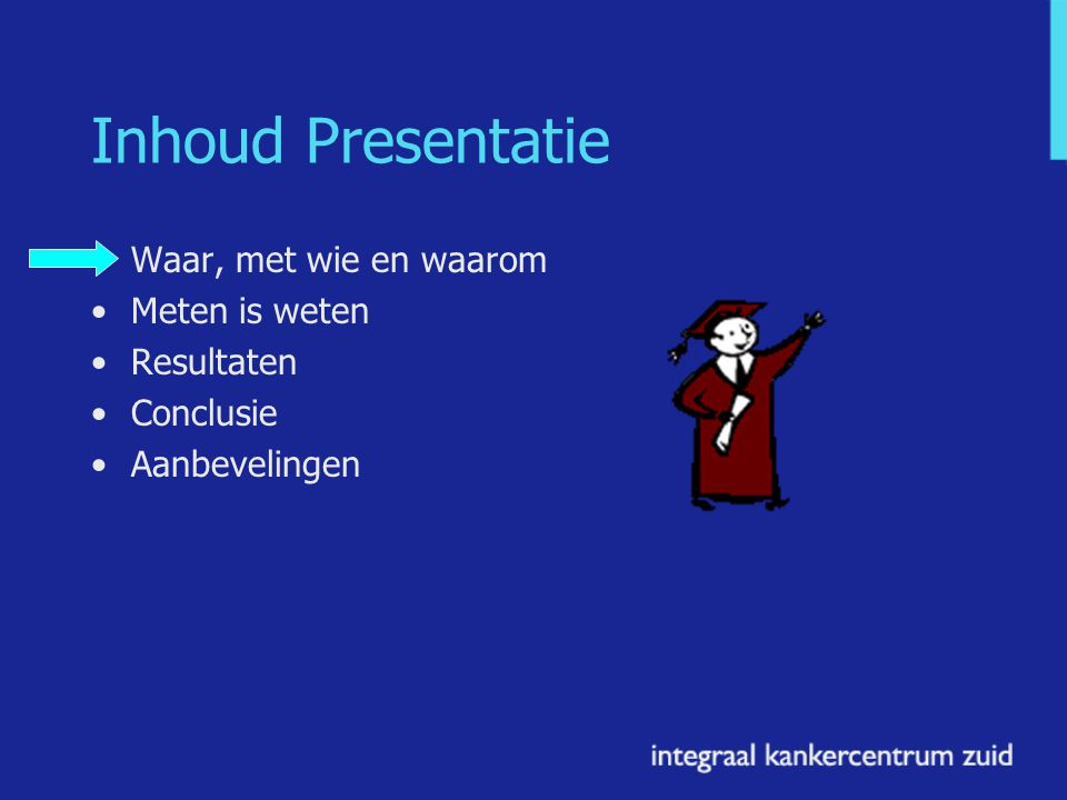 Inhoud Presentatie Waar, met wie en waarom Meten is weten Resultaten