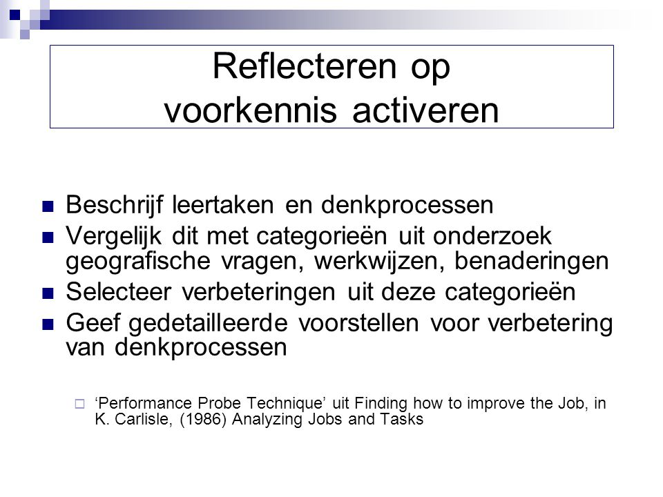 Reflecteren op voorkennis activeren