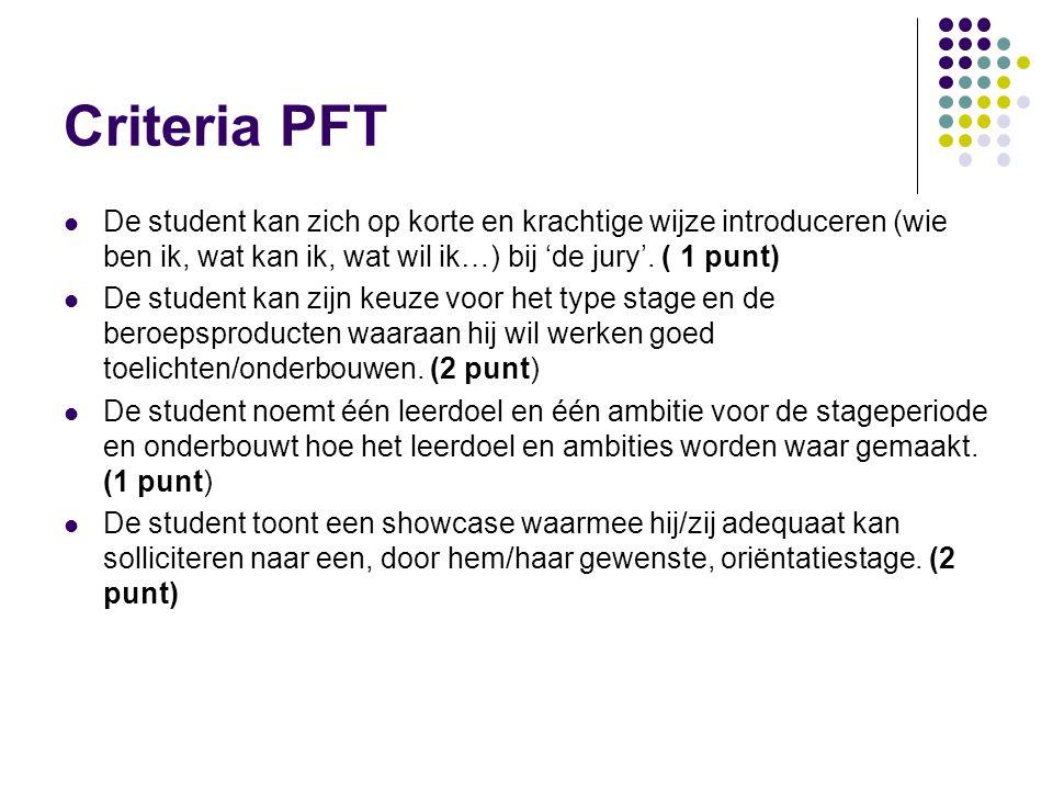 Criteria PFT De student kan zich op korte en krachtige wijze introduceren (wie ben ik, wat kan ik, wat wil ik…) bij 'de jury'. ( 1 punt)