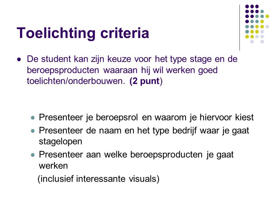 Toelichting criteria