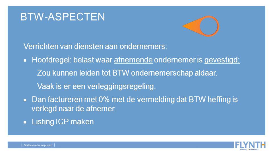 BTW-ASPECTEN Verrichten van diensten aan ondernemers: