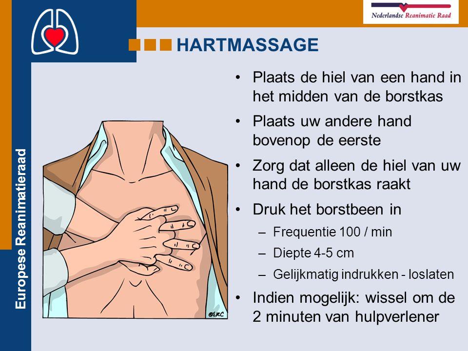 HARTMASSAGE Plaats de hiel van een hand in het midden van de borstkas