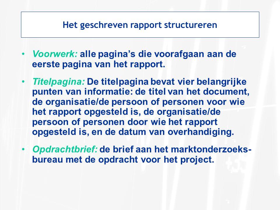 Het geschreven rapport structureren