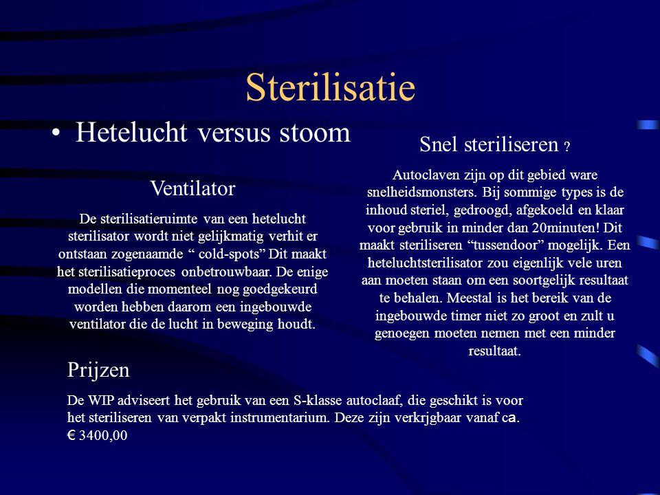 Sterilisatie Hetelucht versus stoom Snel steriliseren Ventilator