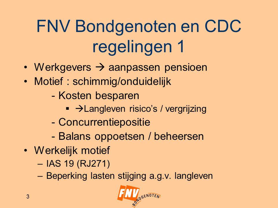 FNV Bondgenoten en CDC regelingen 1