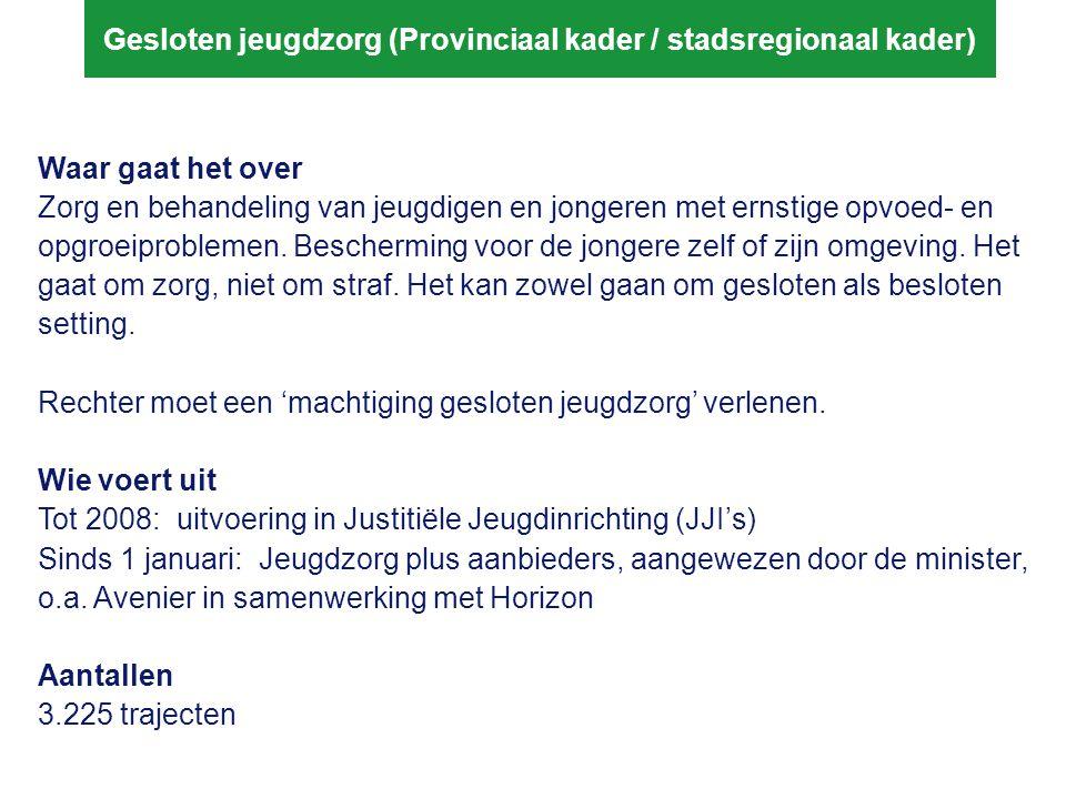 Gesloten jeugdzorg (Provinciaal kader / stadsregionaal kader)
