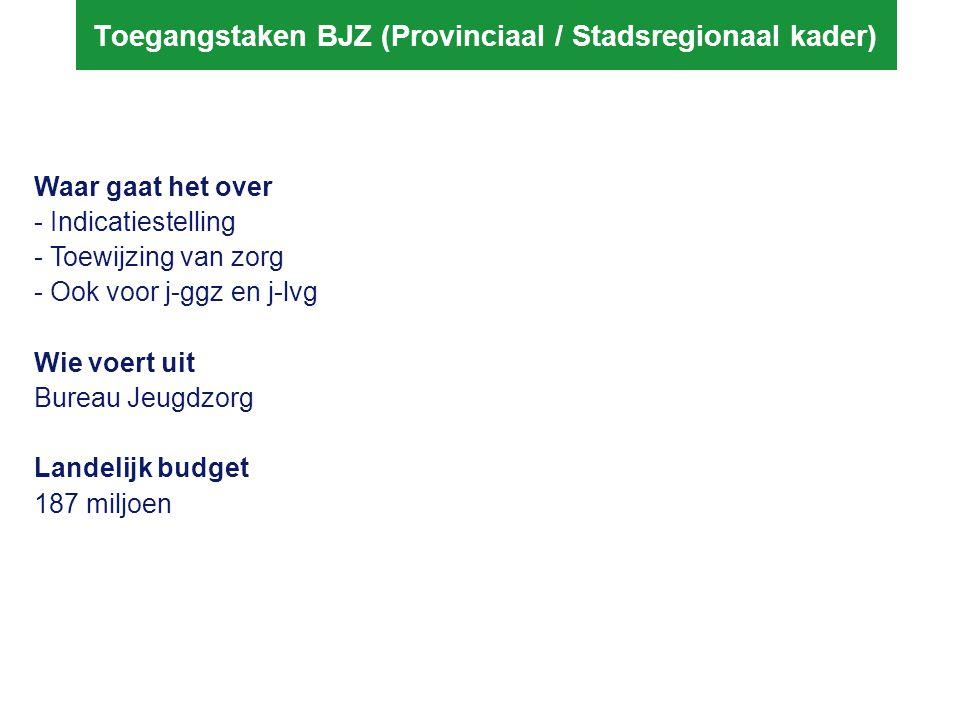 Toegangstaken BJZ (Provinciaal / Stadsregionaal kader)