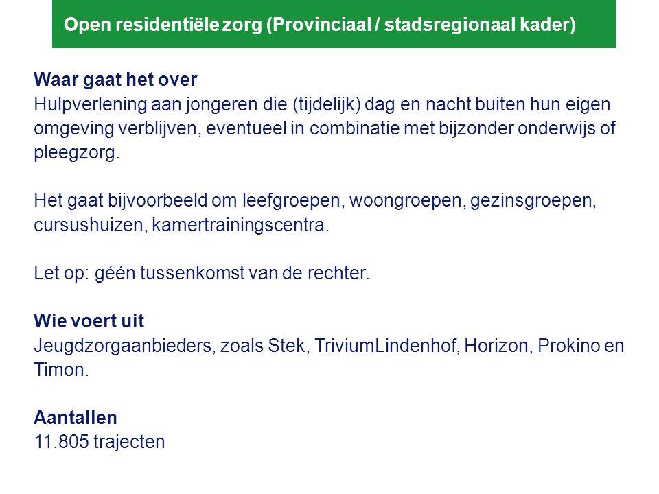 Open residentiële zorg (Provinciaal / stadsregionaal kader)