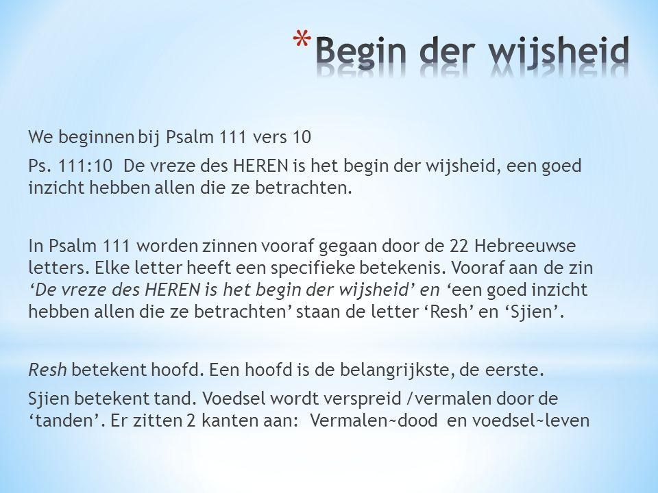 Begin der wijsheid We beginnen bij Psalm 111 vers 10