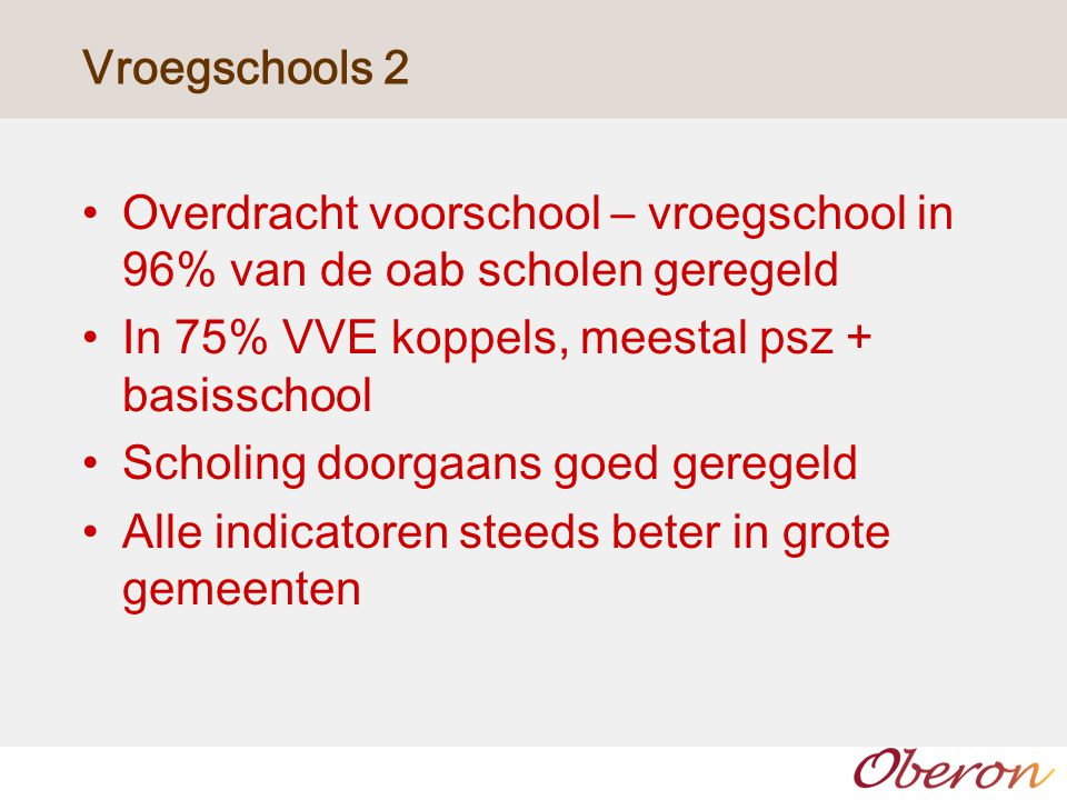 Vroegschools 2 Overdracht voorschool – vroegschool in 96% van de oab scholen geregeld. In 75% VVE koppels, meestal psz + basisschool.