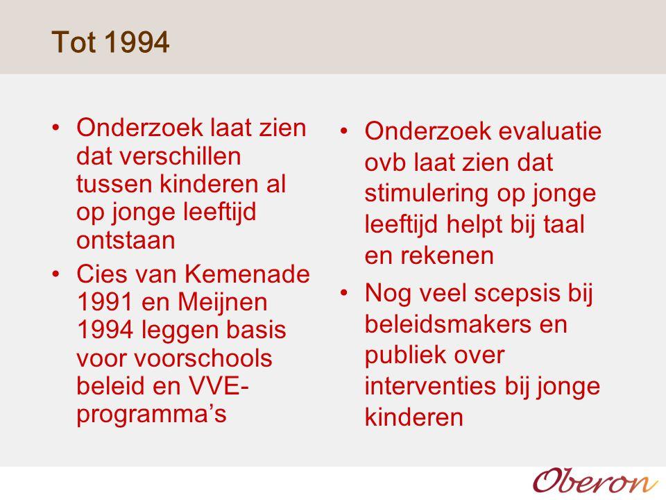 Tot 1994 Onderzoek laat zien dat verschillen tussen kinderen al op jonge leeftijd ontstaan.