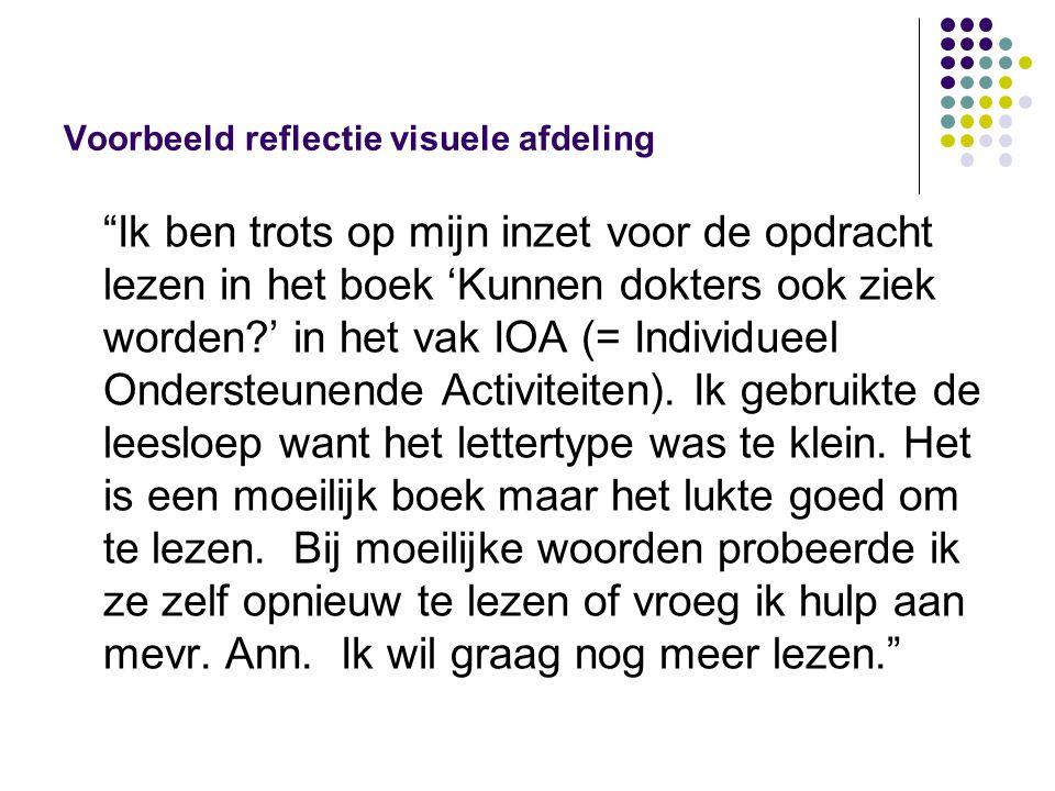 Voorbeeld reflectie visuele afdeling