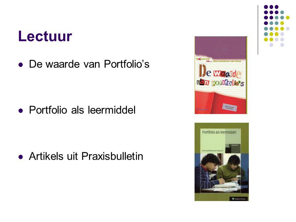 Lectuur De waarde van Portfolio's Portfolio als leermiddel