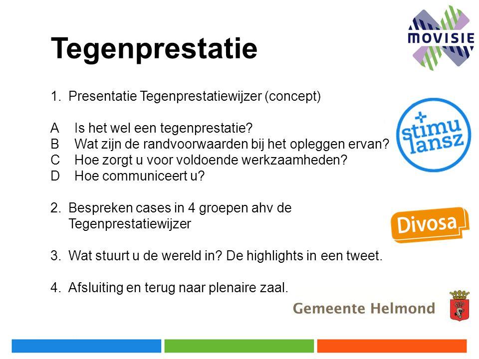 Tegenprestatie Presentatie Tegenprestatiewijzer (concept)