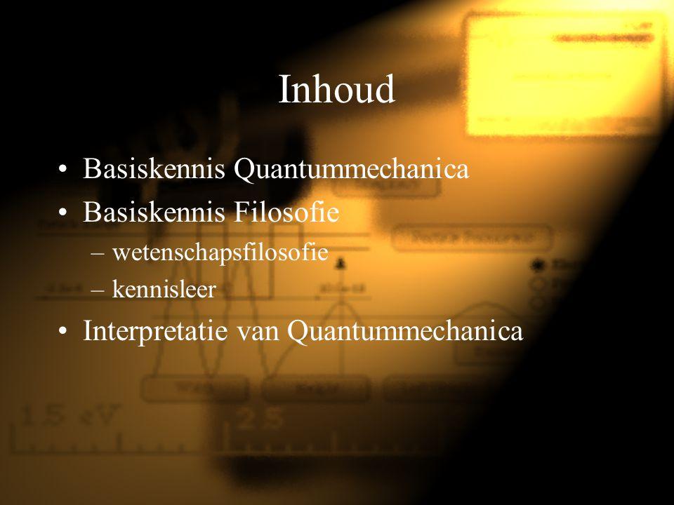 Inhoud Basiskennis Quantummechanica Basiskennis Filosofie