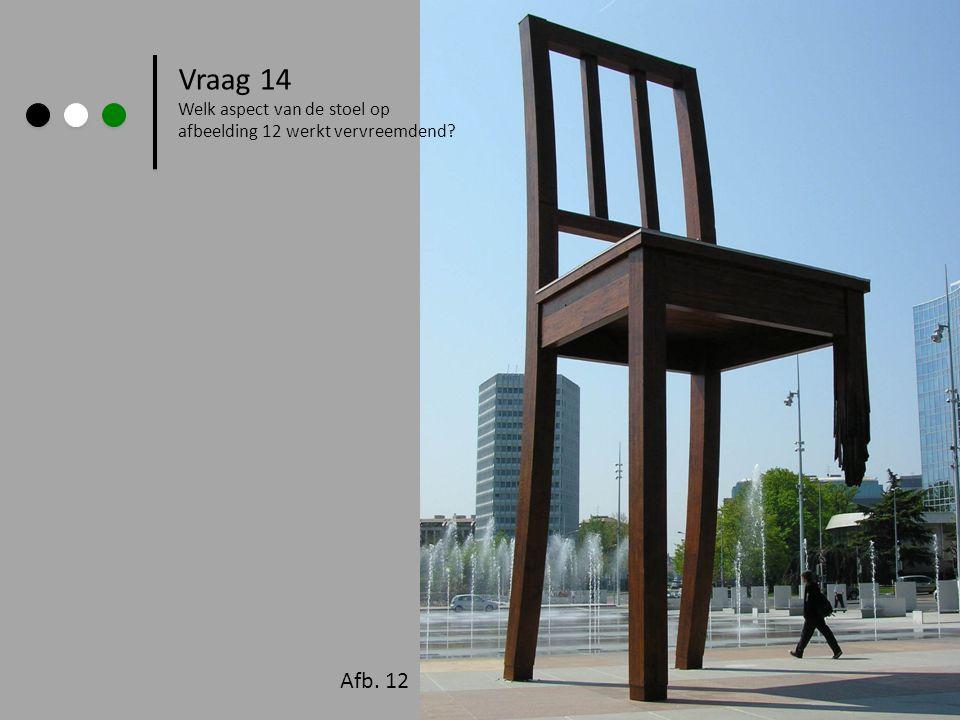 Vraag 14 Afb. 12 Welk aspect van de stoel op