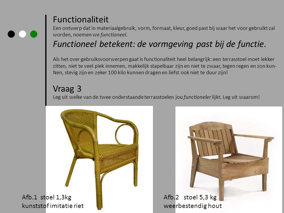 Functioneel betekent: de vormgeving past bij de functie.