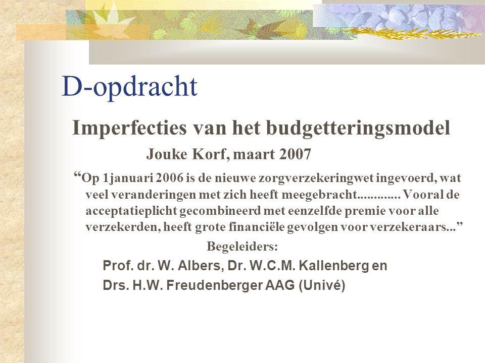 D-opdracht Imperfecties van het budgetteringsmodel